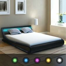 vidaXL Bed Frame With LED 4ft6 Double/135x190 Cm Artificial Leather