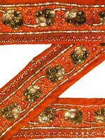 Vintage Indian Sari Border Used Embroidered Woven Trim 1 Yd Women Ribbon