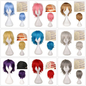 Cosplay New Colorful Wig Straight Short Hair Anime Party Male Female Full Wigs
