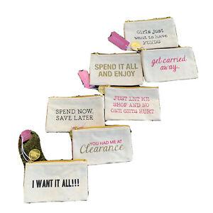 NWT Canvas Coin Purse Gift Card Holder Shopping Inspired Cupcakes & Cartwheels