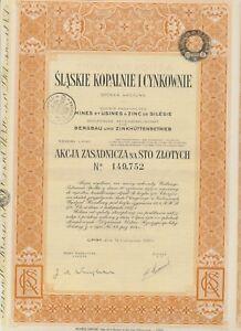 POLEN 1937 Slaskie Kopalnie I Cynkownie Schlesische AG für Bergbau u. Zinkhütten