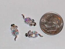 3pc lot Miniature dollhouse tiny crystal Christmas Mice Mouse findings 6x14mm