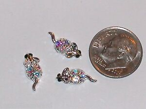 3pc lot Imperfect Miniature dollhouse tiny crystal Mice Mouse findings 6x14mm