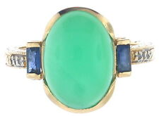 Lady's (14K) Yellow Gold Chrysoprase Chalcedony, Diamond and Sapphire ! 45% Off