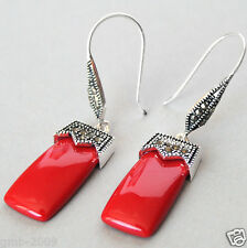 VINTAGE 925 STERLING SILVER RED CORAL MARCASITE DANGLE EARRINGS 2""