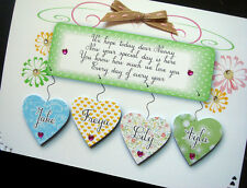 Personalised Handmade Nanny plaque' Card ( Granddad available )