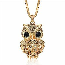 Owl Necklace Pendant Gold Plated Jewelry Wife Women Anniversary Birthday Gift
