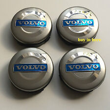4 x VOLVO ALLOY WHEEL CENTRE HUB 64mm GREY CAPS C70 S40 V50 S60 V60 V70 S80 XC90
