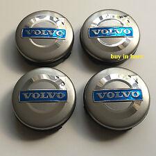 4 x VOLVO ALLOY WHEEL CENTRE HUB 64mm GREY CAPS C70 S40 V50 S60 V60 V70 S80 XC90