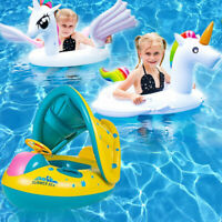 Baby Kids Pool Float with Canopy Inflatable Swimming Ring Swim Floats for 0-6Yrs