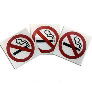 3 Pack NO SMOKING SAFETY WARNING SIGNS Sticker for car window glass wall door