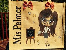 JUTE  PERSONALISED HAND PAINTED TEACHERS BAG ANY NAME OR DESIGN GREAT GIFTS *