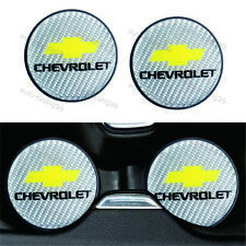 2x CHEVROLET Silver Carbon Fiber Car Cup Holder Pad Water Cup Slot Non-Slip Mat