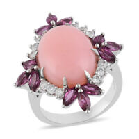 Platinum Over 925 Sterling Silver Pink Opal Rhodolite Halo Ring Jewelry Ct 6