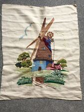 More details for vintage embroidery windmill silk blend on linen unframed circa 1930s embroidered