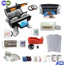 110V Double Station Mug Heat Press Machine Epson Printer CISS Sublimation Paper