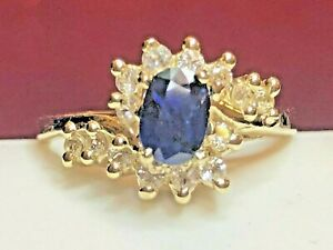 VINTAGE ESTATE 14K GOLD BLUE SAPPHIRE DIAMOND RING ENGAGEMENT WEDDING HALO SIGNE
