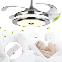 "36""/42"" Invisible Ceiling Fan Lamp Remote Control LED Dimmable Chandelier Light"