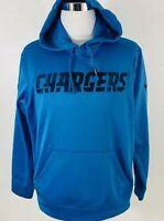 Nike Therma Fit NFL Chargers Onfield Hoodie Sweatshirt Mens L Football Blue