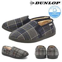 Dunlop Mens Slippers Slip On Twin Gusset Faux Fur Lined Memory Foam Sizes 7-12