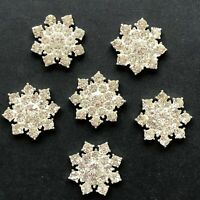 Diamante Snowflake Flat Back Silver Winter Wedding Invitation Decorations 25mm