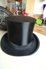 Vintage German 1920s Retro Black Top Silk Hat + Box  Display Prop Wedding Party