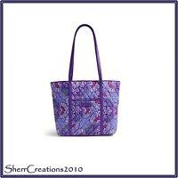 NWT Vera Bradley Small Trimmed Vera Tote Bag Shopper Lilac Tapestry #180222-096