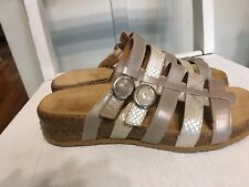 Haflinger Women's Opal Taupe 5-Strap Leather Slip-on Mule Sandals Size 37/6.5
