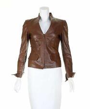 YVES SAINT LAURENT Brown Leather Jacket, UK 6 US 2 EU 34