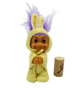 """Easter 3"""" Russ Troll Doll CLIP ON BUNNY Yellow Rabbit Suit HTF Purple Hair"""