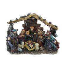 25cm Traditional Christmas Nativity Scene Ornament with Light Set Indoor Manger