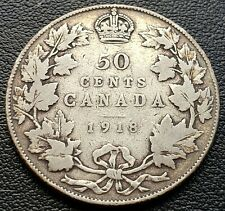 1918 Canada Silver 50 Cent Half Dollar ***VG Condition*** 92.5% Silver