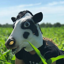 Novelty Halloween Costume Party Latex Cow Full Head Mask Dress Up Carnival Masks