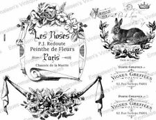 Vintage French Advertising Labels Furniture Transfers Waterslide Decals MIS594