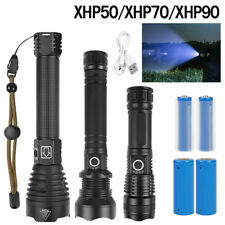 Ultra Lumens Zoomable XHP70 XHP90 USB Rechargeable Flashlight Torch Super Bright
