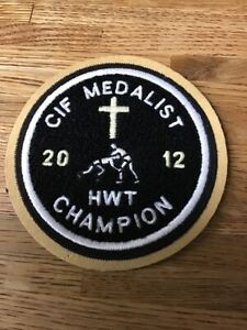 2012 CIF MEDALIST Wrestling HWT Champion Chenille Felt Letterman Jacket Patch