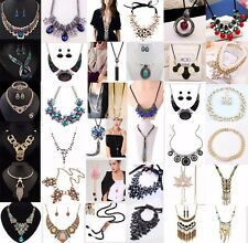 Women Fashion Jewelry Chain Pendant Crystal Chunky Statement Choker Bib Necklace