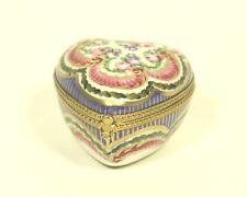 vtg Limoges FranceTRINKET BOX Peint Main France porcelain Heart Shape Red flower