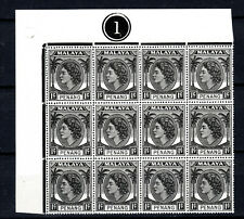 MALAYA STRAITS SETTLEMENTS 1954 QEII 1c IN PLATE BLOCK OF 12 OF MNH STAMPS