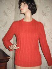 New listing Lovely Vintage 1960s Burnt Orange Wool Pullover Sweater Handmade By Grandma-M