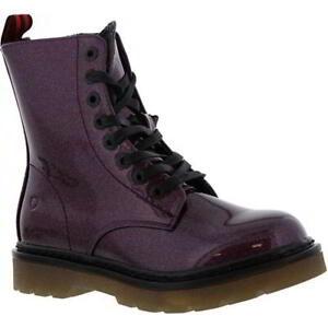 Heavenly Feet Justina Womens Ladies Purple Vegan Friendly 8 Eye Ankle Boots Size