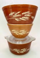 Vintage PYREX Autumn Harvest Wheat Nesting Mixing Bowls 401 402 Dish w/Lid 443-B