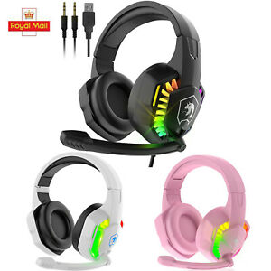 3.5m Gaming Headset With Mic RGB Backlit for PC Mac Xbox One PS4 Nintendo Switch