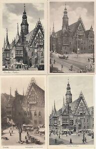 Breslau Lot 4 AK uralt Rathaus Wroclaw Polska Polen 2108204