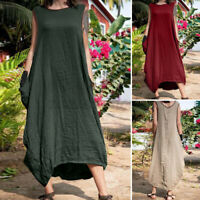 UK Womens Summer Sleeveless Cotton Casual Loose Kaftan Long Maxi Dress Plus Size