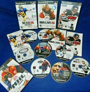 Lot of 8 PS2;NCAA 06 Football,NFL 2K3,NBA Live 06,w/Mans,NHL 2004,NBA Baller,VG+