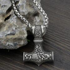 EDELSTAHL Halskette Männer Anhänger Thors Hammer Mjölnir Geschenk Schmuck Odin