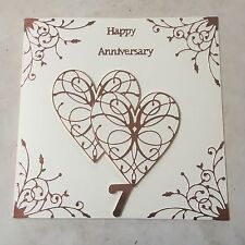 Tarjeta hecha a mano de cobre aniversario de bodas feliz 7th aniversario de bodas