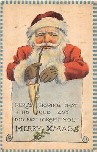 H62/ Santa Claus Christmas Postcard c1910 Smoking Pipe Santa 108