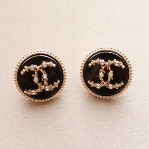 Set of 2 Chanel Buttons, 20mm, Black, Gold, Rhinestone, Stamped